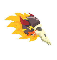 Scull in horned helmet on fire colorful sticker vector