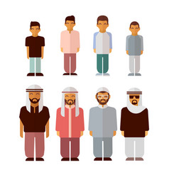 Flat arabic boys and men isolated on white vector