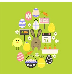 Easter flat icons set egg shaped over green vector