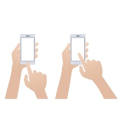 Hand holding white smartphone touching blank vector