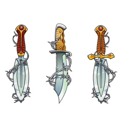 Cartoon ancient daggers with barbed wire vector