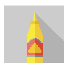 Flat bottle with mustard vector