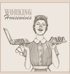Vintage working housewife wallpaper vector