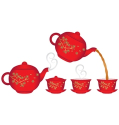 Chinese tea service collection vector