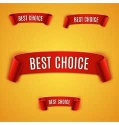 Set red realistic ribbon vector