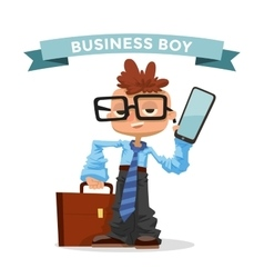 Little schoolboy like businessman with business vector