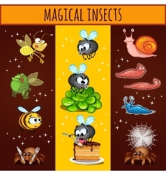 Fun cartoon insects mutants bees spiders slugs vector