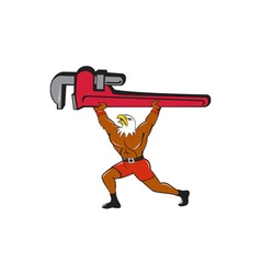 Bald eagle plumber monkey wrench isolated cartoon vector