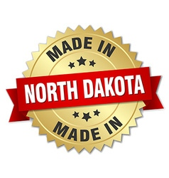 Made in north dakota gold badge with red ribbon vector