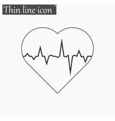 Electrocardiogram icon style thin line vector