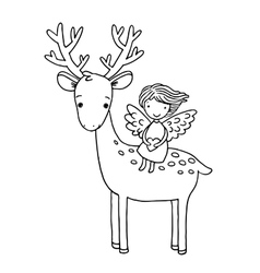 Deer and the angel vector image