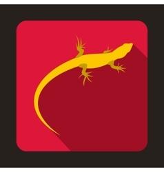 Yellow lizard icon flat style vector