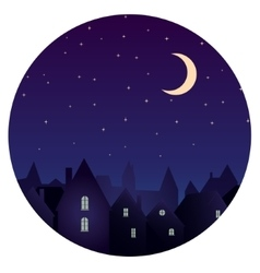 Silhouette of city and night sky with stars moon vector