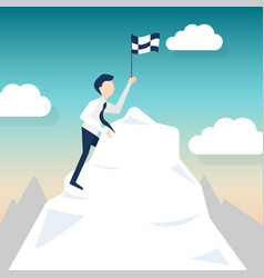 A man climbs for chasing the flag vector