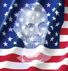 Abraham lincoin on united of america flag vector