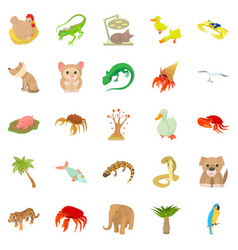 Animal shelter icons set cartoon style vector