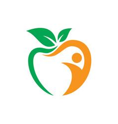 apple leaf people sign logo vector image vector image