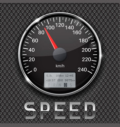 Black speedometer on metal perforated background vector