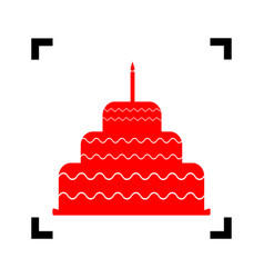 Cake with candle sign red icon inside vector
