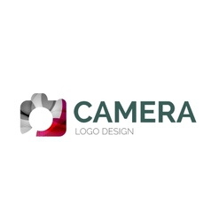 Camera logo design made of color pieces vector image vector image