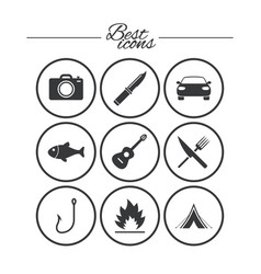 Camping travel icons fishing tourist tent vector