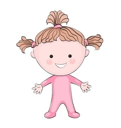 Cartoon little girl on white background vector
