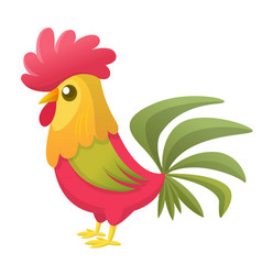 cartoon rooster stands on one leg vector image
