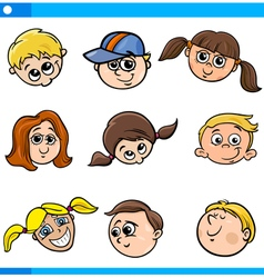 children characters faces set vector image