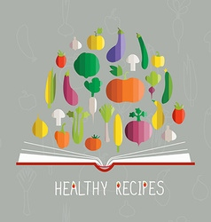 Cookbook with vegetables vector