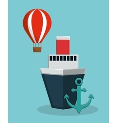 Cruise ship with anchor and hot air balloon icon vector