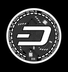 crypto currency dash black and white symbol vector image