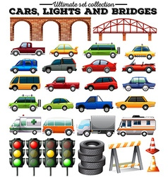 Different kind of cars and objects on road vector