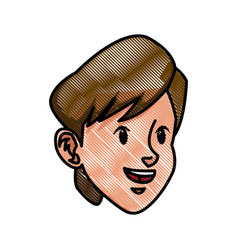 Drawing head boy face character healthy vector
