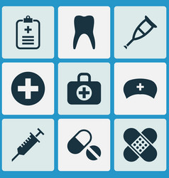 Drug icons set collection of bandage pills vector
