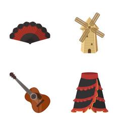 Fan spanish mill guitar skirt for national vector