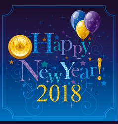 Happy new year 2018 logo icon poster with vector