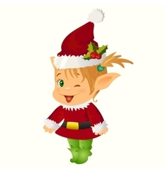 Happy Smiling Boy Christmas Santa s Elf vector image