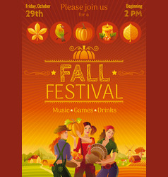 Harvest festival invitation design fall vector