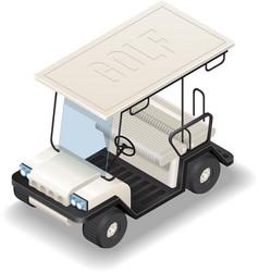 Isometric white golf car vector