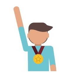 Man winner medal champion award vector