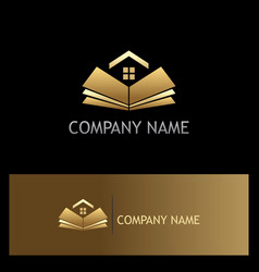 open book golden home logo vector image