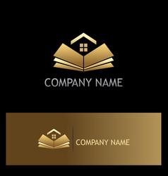 open book golden home logo vector image vector image