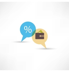 purse and percent in bubble speech vector image