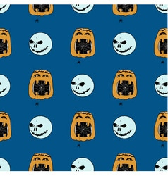 Seamless pattern from ghosts and pumpkins vector
