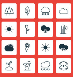 Set of 16 harmony icons includes oak cactus vector