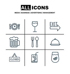 Set of 9 eating icons includes meal hour closed vector