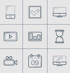 Set of modern thin line icons mobile time video vector