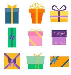 Set of nine colorful icons of gift boxes vector