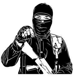 Terrorist in black vector