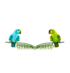 Two parrots on palm branches vector